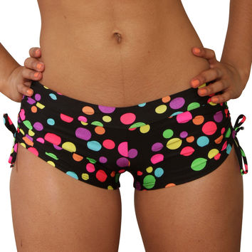 Cheeky Tie Side Polk A Dot Print Shorts- Sassy Assy