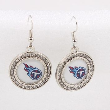 20Pairs New Crystals Charm Earrings Football Tennessee Titans For American Foorball Fans Sports Fashion Earrings