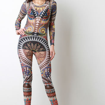 Graphic Tribal Print Mesh Jumpsuit
