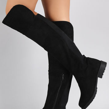 Bamboo Vegan Suede Elastic Back Gore Lug Boots