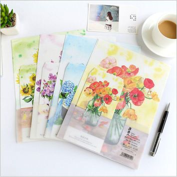 Seasonal Flower Blossoming and Fade 4 Pages letter paper+2 Pages envelope Writing Paper Love Letter Stationery