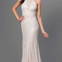 Beige Floor Length Lace and Sequin Dress by Xscape