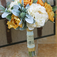 Mint and Mustard Rustic Wedding Bouquet - French Country Wedding