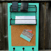 Mail Orgainzer,Corkboard, & Key Hooks - Home Message Organizer - MADE TO ORDER