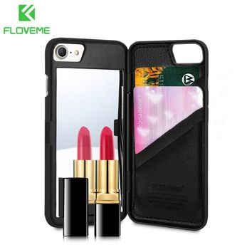 FLOVEME Mirror Case For iPhone 6 6s 7 Plus Wallet+Card Slot Cover Makeup Phone Cases For Apple iPhone 8 X 7 Plus 10 Woman Coque