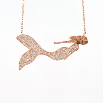 925 Sterling Silver Rose Gold Plated Mermaid Necklace
