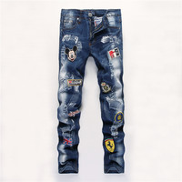 Ripped Holes Men Jeans Stretch Blue Skinny Pants [6541744707]