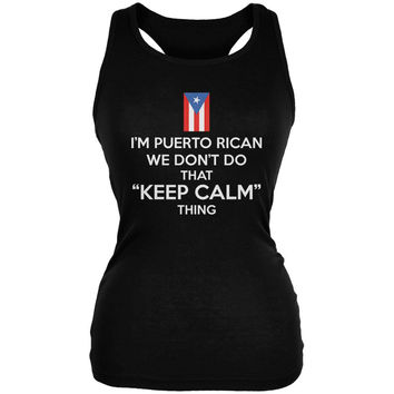 Don't Do Calm - Puerto Rican Black Juniors Soft Tank Top