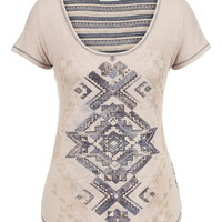 Graphic Print Knit Back Scoop Neck Tee - Beige