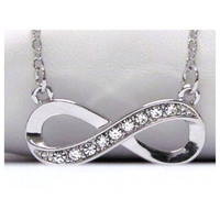 Beautiful Rhinestone Accented Infinity Pendant Necklace