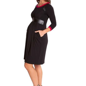 Olian Victoria Pleather Trim Maternity Dress
