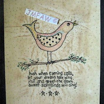 "Primitive Folk Art Print- ""Sweet Songbirds will Sing""---Copyright Lithograph Print & Verse of Primitive Folk Art Stitchery"