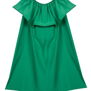 Popbop Women's Off-Shoulder Ruffle Sleeve Mini Tunic Dress