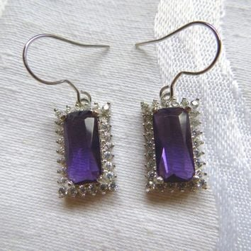 Sterling Silver Amethyst Earrings, White Topaz, Pierced Drop Earrings, Gemstone Jewelry, Wedding Jewelry