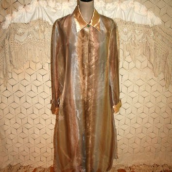 2X Plus Size Duster Coat Sheer Chiffon Evening Jacket 80s Vintage Clothing Formal Coat Bohemian Bronze Gold 1980s Womens Clothing