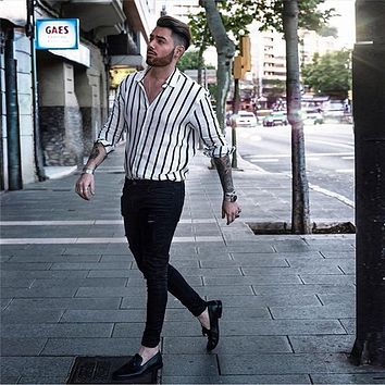 Fashion Men Slim Fit V-Neck Long Sleeve Muscle Shirt Casual Tops Trendy Vertical Striped Shirt Streetwear Cemebrities Same Style