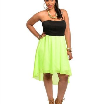 Black Neon Green Plus Size Strapless Tube Hi Low Dress Size 2X 2XL XXL 18 20