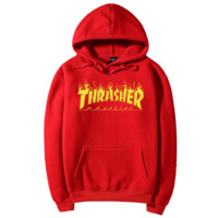 """""""Thrasher""""Men and women with the flame hooded couples sweater Red"""