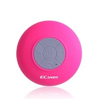 Ecandy Round Waterproof Wireless Bluetooth Shower Speaker Handsfree Speakerphone Compatible with All Bluetooth Devices such as Iphone 6,5s,4s,Samsung Galaxry and All Android Devices, Great Fun for your Shower and outdoor trip-Rose