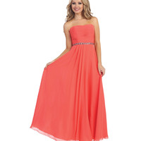 Coral Beaded Empire Waist Chiffon Gown 2015 Prom Dresses