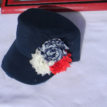 Womens hats - baseball cap - Millitary cadet hat- 4th of July Navy blue distressed hat Red white blue flowers shabby chic flower- flower hat