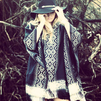 Bohemian beach poncho, Boho life back hoodie, True Rebel Clothing