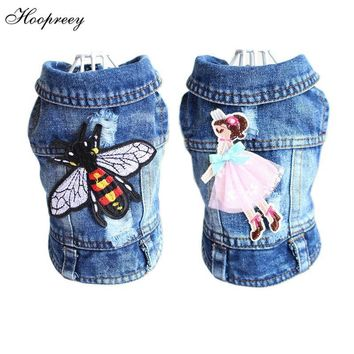 Trendy Embroidery Design Cat Dog Clothes Denim Pet Puppy Vest Cowboy Clothing for Small Dogs Chihuahua Teddy Costume Bee Fly Dog Jacket AT_94_13