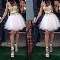 Don's Bridal A Line Prom Dresses Chiffon Above Knee Mini Sexy Open Back Women Gowns 2/two Piece Homecoming Party Dress