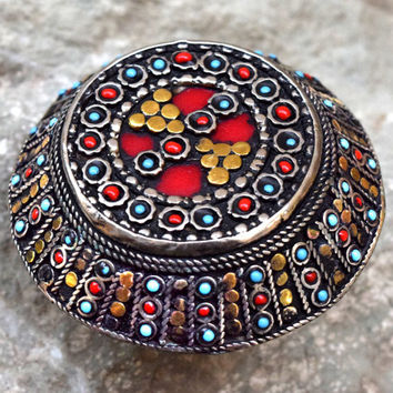 Big Turkish Dome Ring Tribal Ring,Beaded Ethnic Ring,Festival Jewelry,Afghan Kuchi Ring,Carved Ring,Bohemian Ring,Hippie,Gypsy Boho Ring
