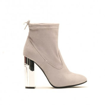 HALO MARBLE EFFECT HEEL ANKLE BOOTS IN GREY FAUX SUEDE