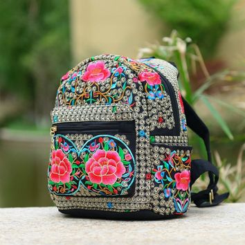 Fashion  backpack  national embroidery red azalea flowers women solid bag