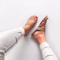 Honesty Gold Studded Tan Sandals by Billini