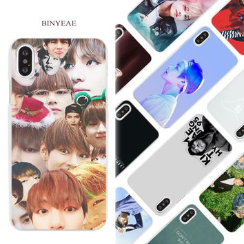 BINYEAE bts bangtan boys Taehyung RUN Hard White Phone Case Cover Coque Shell for iPhone X 6 6S 7 8 Plus 5 5S SE 4 4S 5C