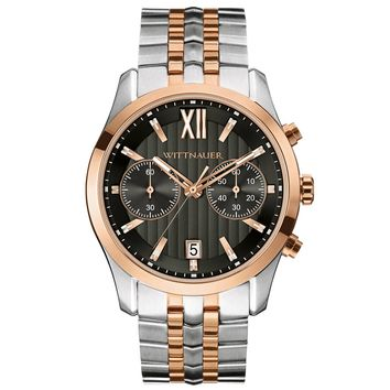Wittnauer WN3035 Men's Black Dial Two Tone Rose Gold Steel Chronograph Watch