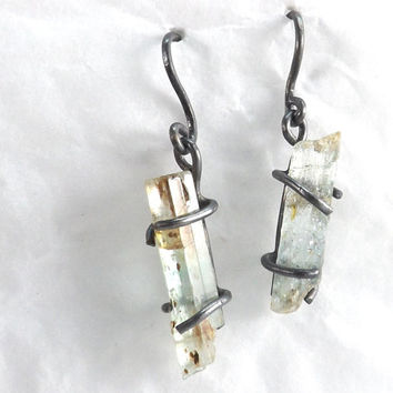 sterling silver earrings rough aquamarine crystals dangle earrings genuine raw crystals handmade jewelry
