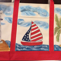 Zippered Tote Bag Hand Painted with Sailboat and Lighthouse