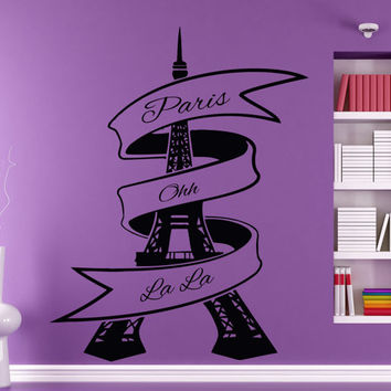 Wall Decals Words Paris Oh La La Eiffel Tower France Home Vinyl Decal Sticker Kids Nursery Baby Room Decor kk41