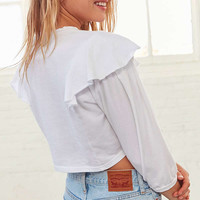 Silence + Noise Juliet Ruffle Shoulder Tee | Urban Outfitters