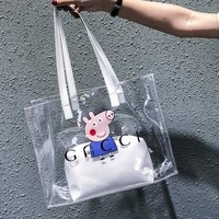Gucci Peppa Pig Transparent bag jelly bag Tow Piece Women Shopping Bag B-AGG-CZDL Blue