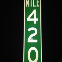 Mile Marker 420 Reflective Aluminum Sign Bar Sign Marijuana Pot Bud Weed Bob Stoner Leaf