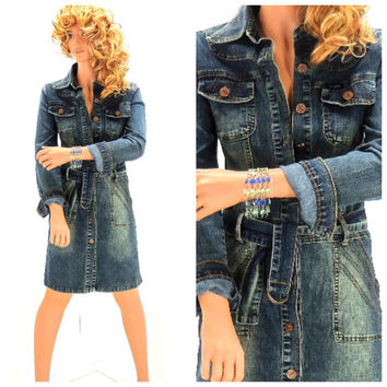 Vintage 90s long sleeve denim dress size 6 / 7, boho long sleeved jean dress,  rocker blue jean dress, SunnyBohoVintage