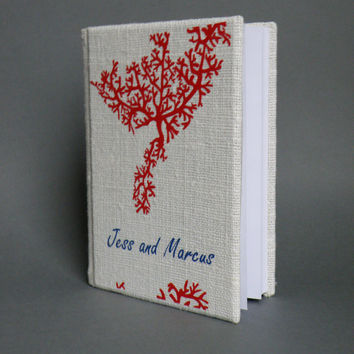 Wedding rustic guest book burlap Linen Wedding guest book Personalized Red Coral Reef