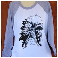 3/4 Sleeve Heather Gray with Indian Chief and Crystal Accents
