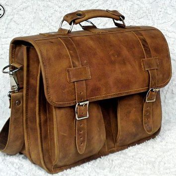 Large Geunine Leather Messenger Briefcase / Backpack by DiazBags