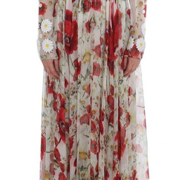 Roses Silk Applique Long Maxi Gown Dress