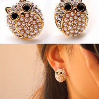 Fashion pearl diamond owl earrings from looback