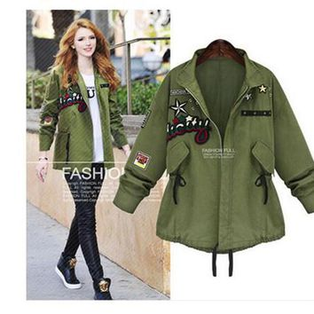 Chic Was Thin Appliqué Slim long-sleeved And Long Sections Women's Coats Jackets Retro Style Windbreaker Parka Outwear Casual Cardigan Coat