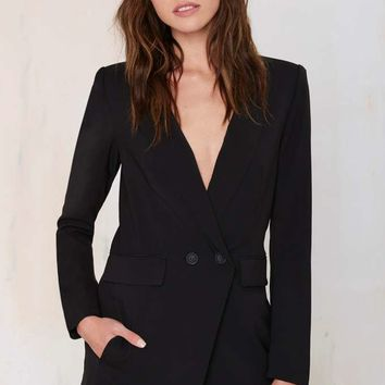 No Tux Given Blazer Romper - Black
