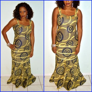 African Yellow And Blue African Wax print Dress, African Ankara Fabric Long Dress, Ankara Mermaid Formal Dress, Party Dress  By ZabbaDesigns