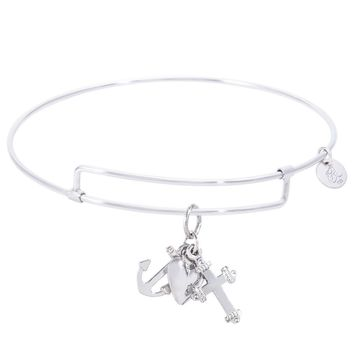 Sterling Silver Pure Bangle Bracelet With Faith,Hope,Charity Charm